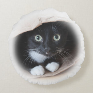 Cat in a bag round pillow