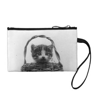 Cat in a Basket Vintage Photo Change Purse