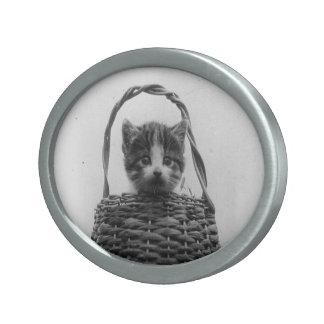 Cat in a Basket Vintage Photo Oval Belt Buckle