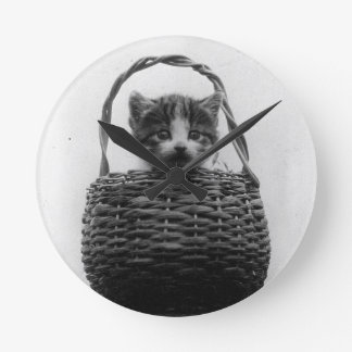 Cat in a Basket Vintage Photo Round Clock