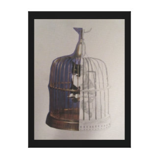 Cat in a Bird Cage Canvas Print