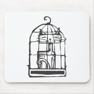 Cat in a Bird Cage Mouse Pad