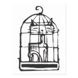 Cat in a Bird Cage Postcards