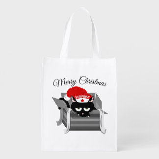 Cat in a box Merry Christmas Reusable Grocery Bag