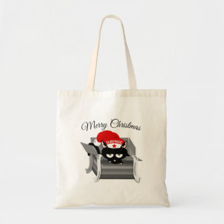 Cat in a box Merry Christmas Tote Bag