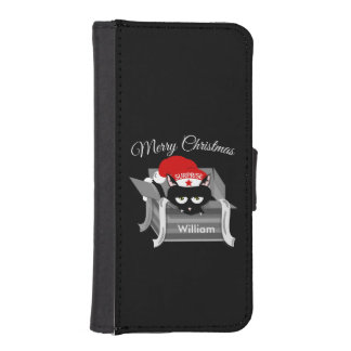Cat in a box Merry Christmas Wallet Phone Case For iPhone SE/5/5s