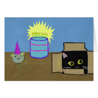 Cat in a Box Party Birthday Greeting Card