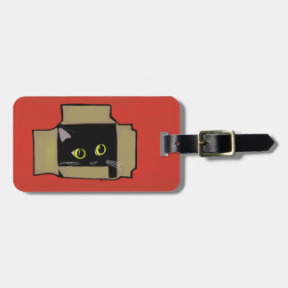 Cat in a Box Red Bag Tag