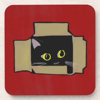 Cat in a Box Red Beverage Coaster