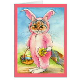 Cat in a bunny suit Easter card