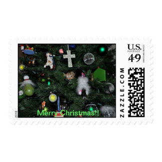 Cat in a Christmas Tree Stamps