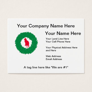 Cat In A Christmas Wreath| Holiday Cat & Wreath Business Card