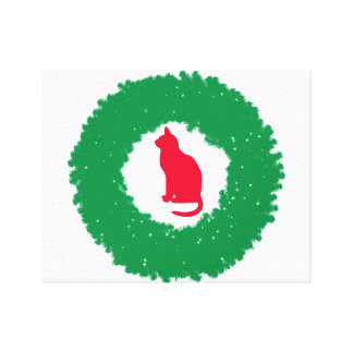 Cat In A Christmas Wreath| Holiday Cat & Wreath Canvas Print