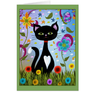 Cat In A Garden Abstract Art Card