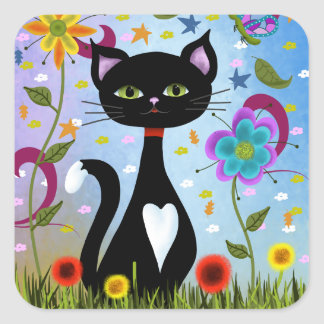 Cat In A Garden Abstract Art Square Sticker