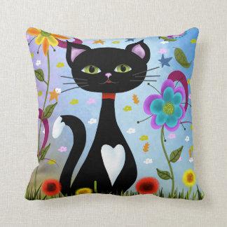 Cat In A Garden Abstract Art Throw Pillow
