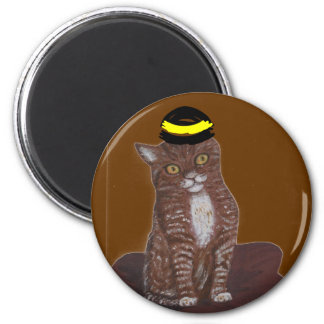Cat In A Hat 2 Inch Round Magnet