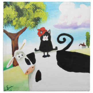 cat in a hat on a cow napkin