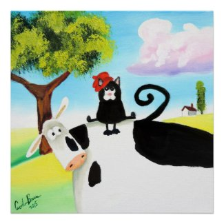 cat in a hat on a cow poster
