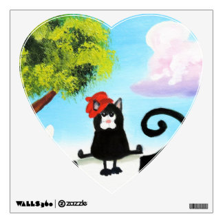 cat in a hat on a cow wall sticker
