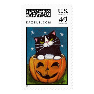 Cat in a Jack O Lantern - Large Halloween Postage