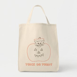Cat in a pumpkin Halloween drawing canvas bags
