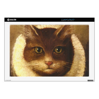 "Cat In A Ruff Cute Victorian Art Vintage Painting 17"" Laptop Skins"