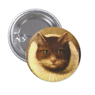 Cat In A Ruff Cute Victorian Art Vintage Painting 1 Inch Round Button