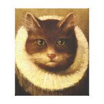 Cat In A Ruff Cute Victorian Art Vintage Painting Canvas Print