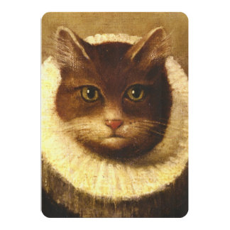Cat In A Ruff Cute Victorian Art Vintage Painting Card