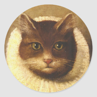 Cat In A Ruff Cute Victorian Art Vintage Painting Classic Round Sticker