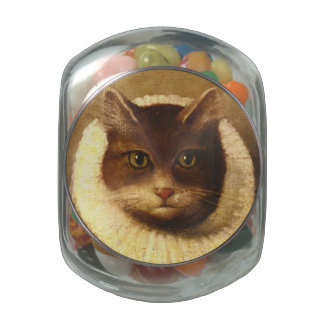 Cat In A Ruff Cute Victorian Art Vintage Painting Glass Candy Jars
