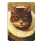 Cat In A Ruff Cute Victorian Art Vintage Painting 5x7 Paper Invitation Card