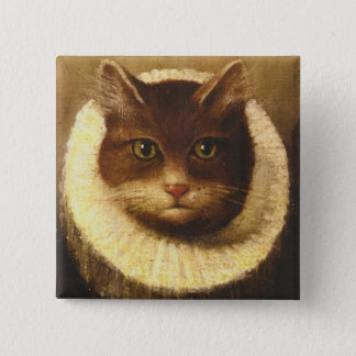 Cat In A Ruff Cute Victorian Art Vintage Painting Pinback Button