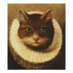 Cat In A Ruff Cute Victorian Art Vintage Painting Posters