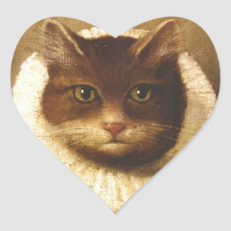 Cat In A Ruff Cute Victorian Art Vintage Painting Sticker