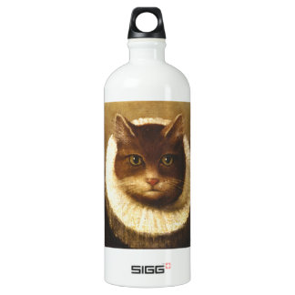 Cat In A Ruff Cute Victorian Art Vintage Painting Water Bottle
