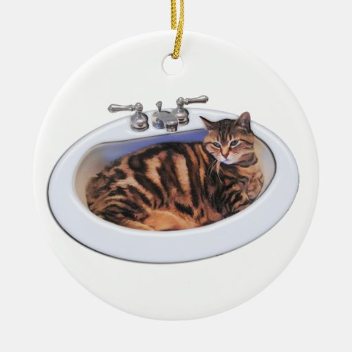 Cat in a Sink Christmas Ornament