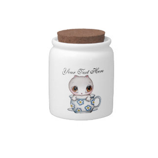 Cat in a Teacup Customizable Candy Jar