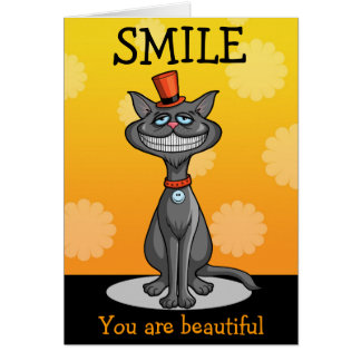 Cat in a Top Hat with a Big Smile Greeting Card