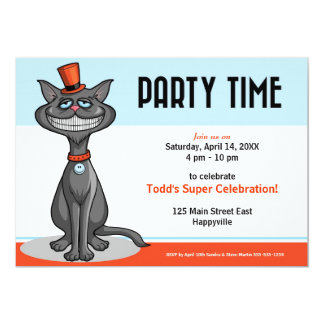 Cat in a Top Hat with a Big Smile Invitation