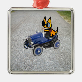 Cat In A Toy Car Christmas Tree Ornament