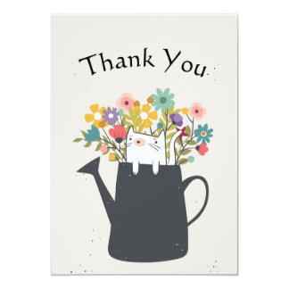 Cat In A Watering Can Thank You Flat Card