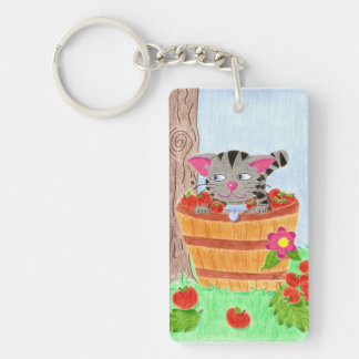 Cat in an apple basket rectangular key chain