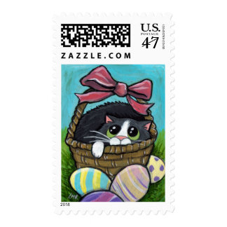 Cat in an Easter Basket (medium) Postage
