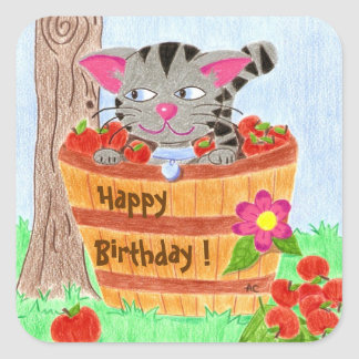 Cat in apple basket B-day stickers