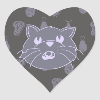 Cat in Awe of Food Heart Sticker