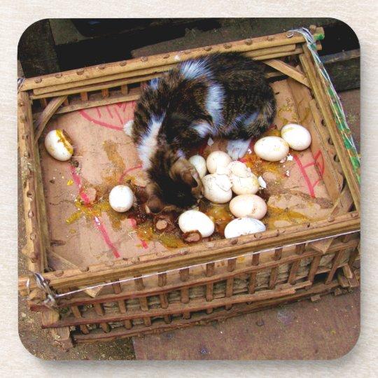 Cat in Basket in Cairo Cork Coaster