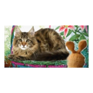 Cat in Basket Personalized Photo Card
