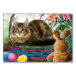 Cat in Basket Table Card